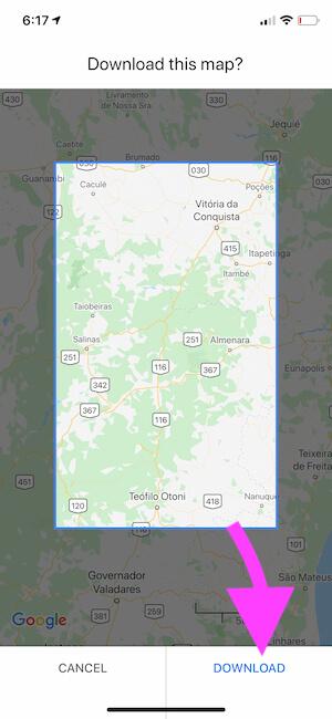 Download Google maps offline on iPhone