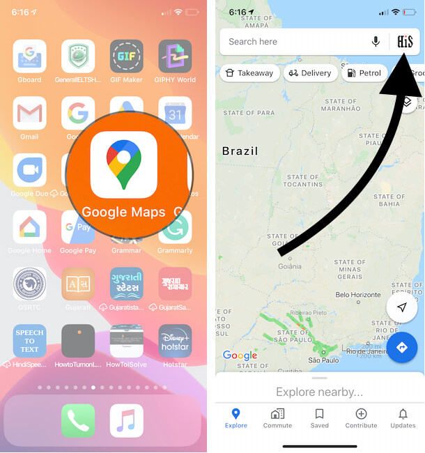 Find the Profile info on Google Maps iPhone app