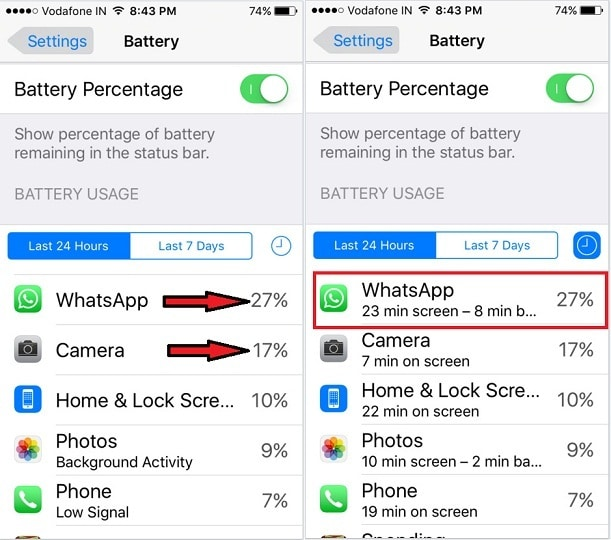 Battery Usage on iOS 9.3
