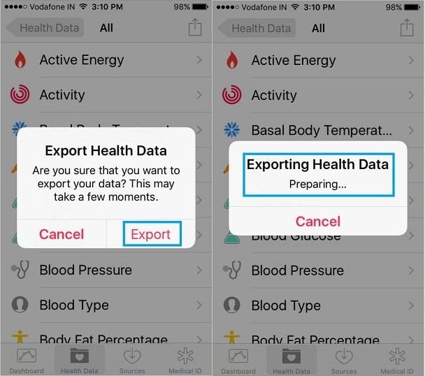 export health app data on iPhone 6S Plus