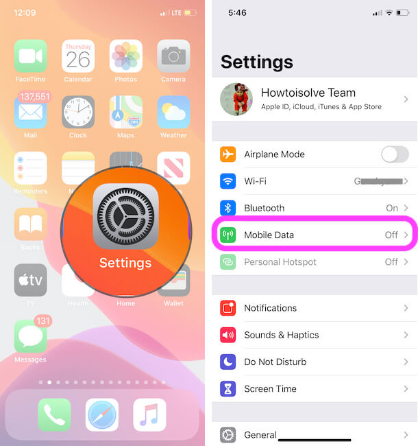 Mobile Data settings for iPhone