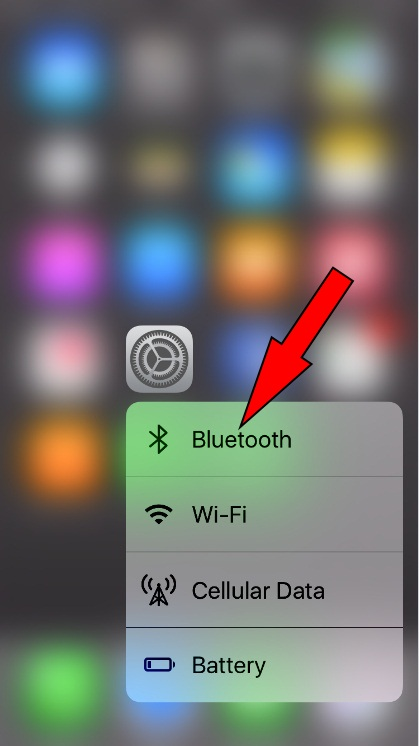 enable disable Bluetooth with 3D touch on iPhone 7 - 7 Plus iOS 10.2 later