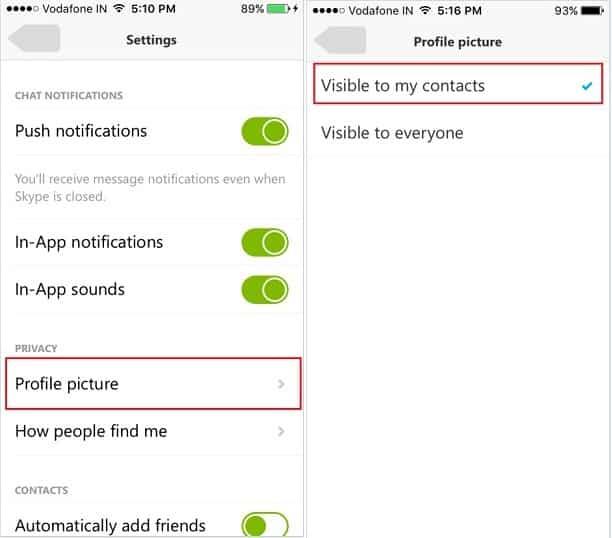 hide Skype Profile picture on iPhone app