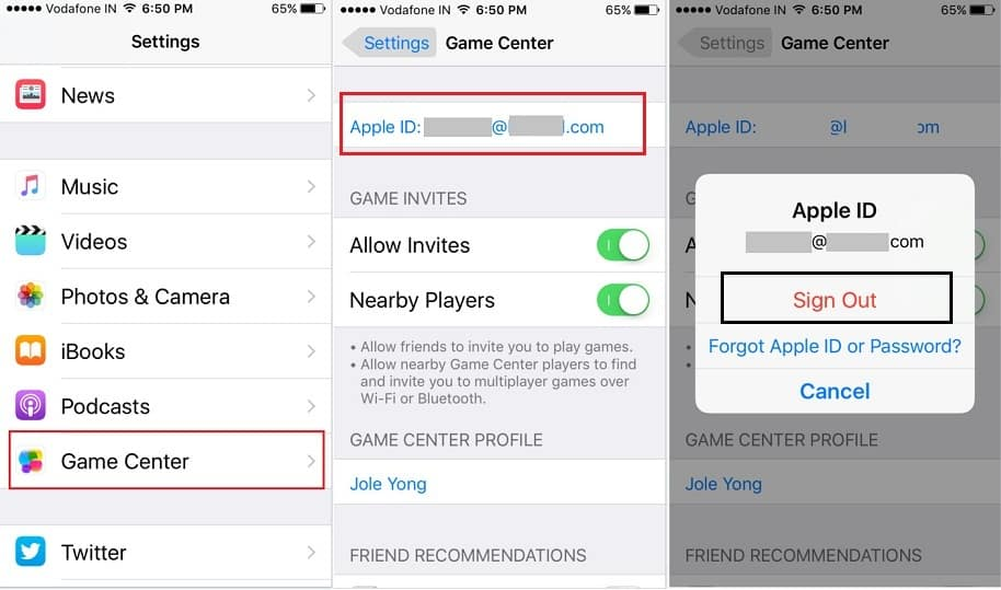 logout Apple ID on iPhone, iPad for Game Center iOS 10, iOS 9