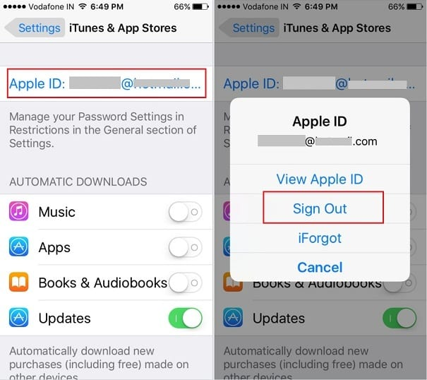 Sign out Apple ID for iTunes, Book Store and App Store on iPhone