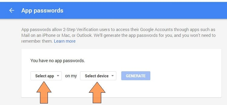 Generate password for App and Device from Google