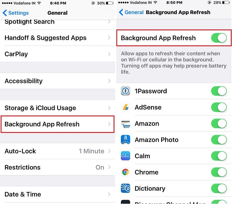 Enable Background App refresh for iPhone app