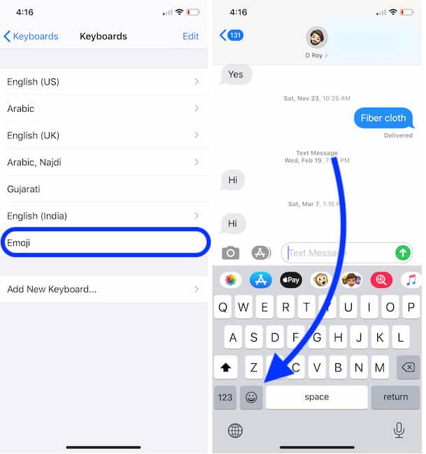 Access Emoji Keyboard from Keyboard Pane on iPhone