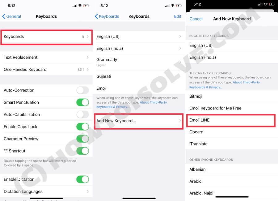 Add Emoji Line Keyboard in iPhone