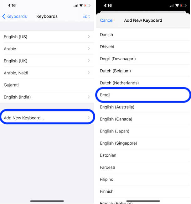 Add New Emoji Keyboard on iPhone