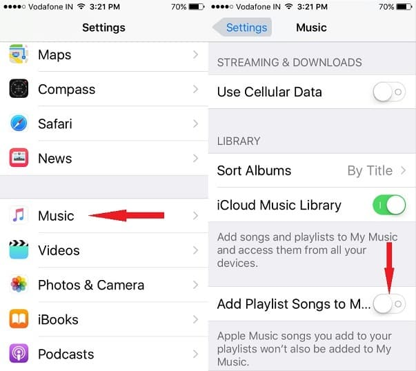 Apple Music library settings on iPhone