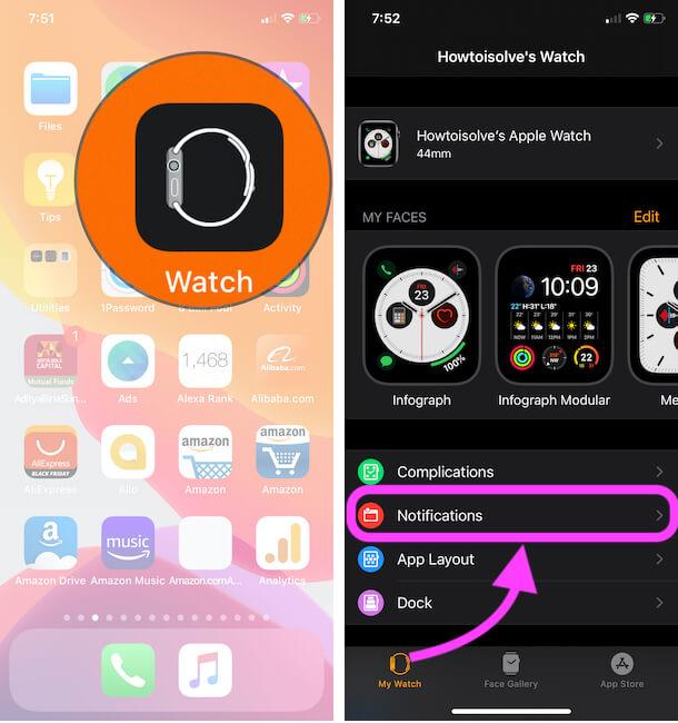 Apple Watch Notifications Settings on iPhone Watch App