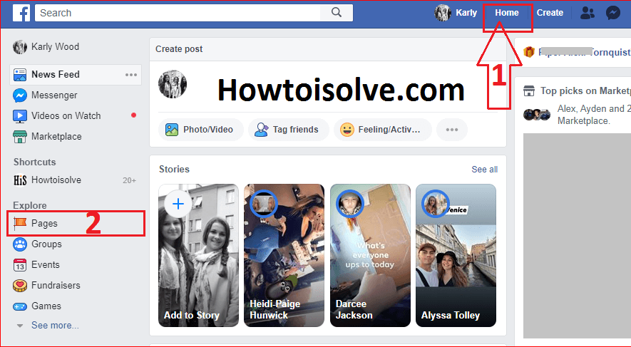 Click on Home from the top header on facebook web and click on pages appear in left side bar