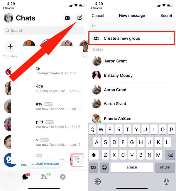 Create Group in Facebook Messenger