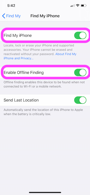 Enable Offline Finding on iPhone
