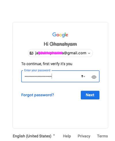 Enter your Account password for Authenticate