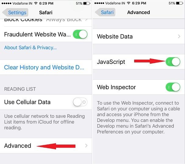 JavaScript enabled for safari browser