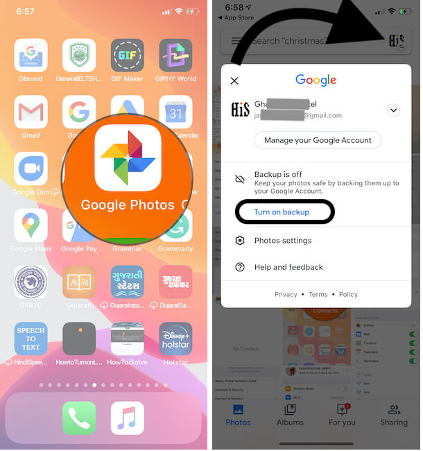 Google Photos settings and Auto Backup on iPhone