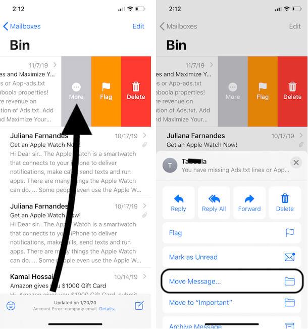 Open Bin or Trash Folder on iPhone Mail App