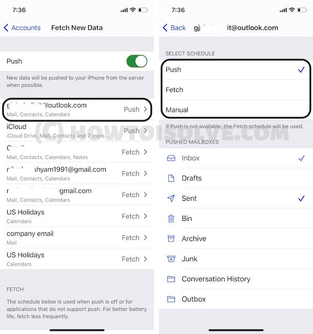 Select Schedule for mail data on iPhone mail app