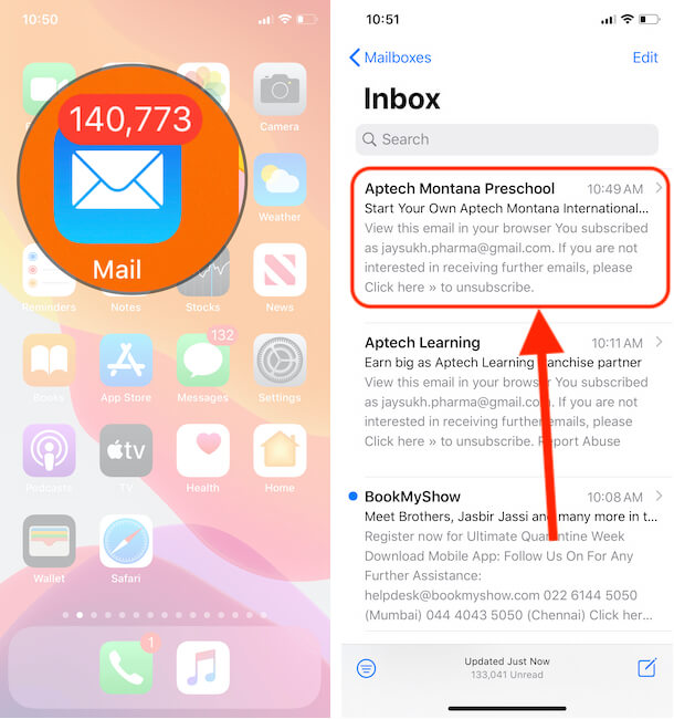 Select mail and Forward on iPhone mail app