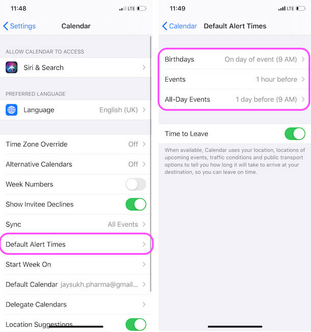 Set Event Reminder Time from iPhone Calendar Settings
