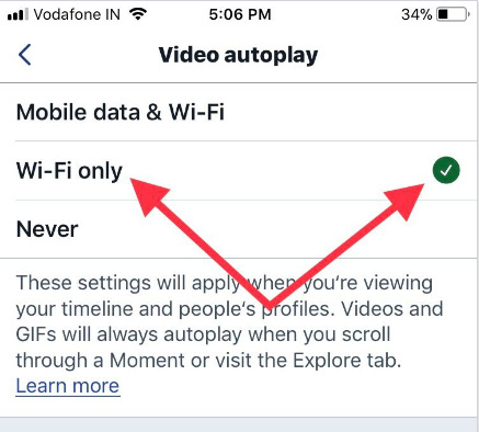 Tap Wi-Fi Only to autoplay videos in twitter 2017 on iPhone iPad