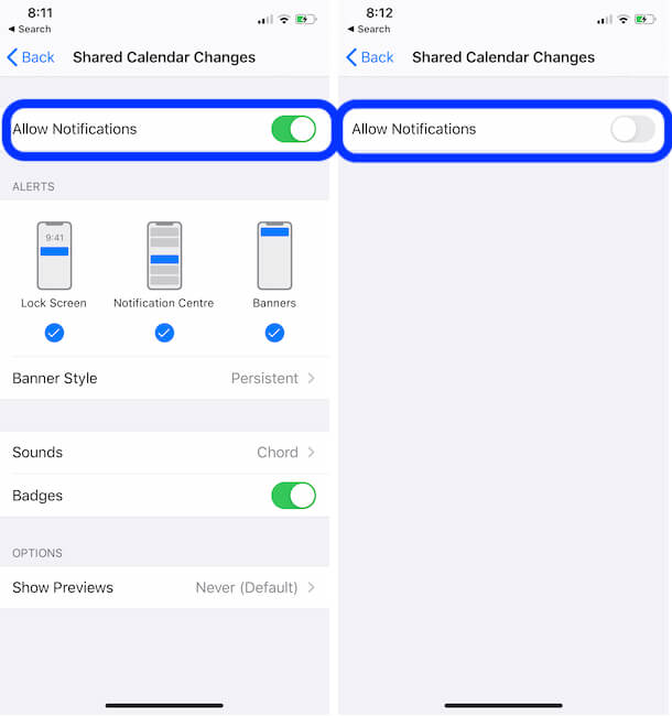 Turn off Share Calendar App Notification on iPhone