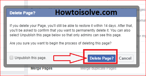 click on delete page button to delete facebook page