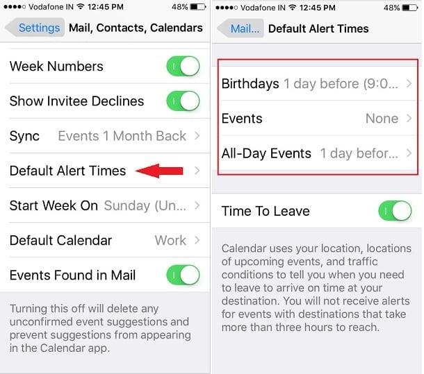 Change iPhone Calendar Default Alert Time
