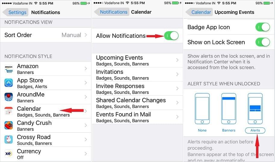 Tunn on iPhone Calendar Notifications
