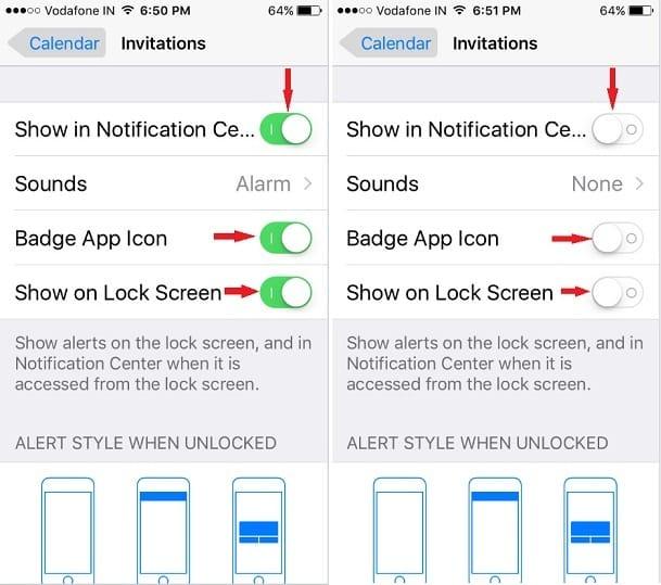 turn off Calendar invitations notifications on iPhone