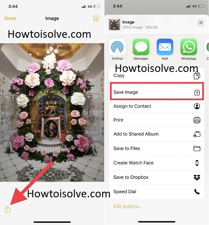 open saved note and tap on share button then choose save image on share sheet button