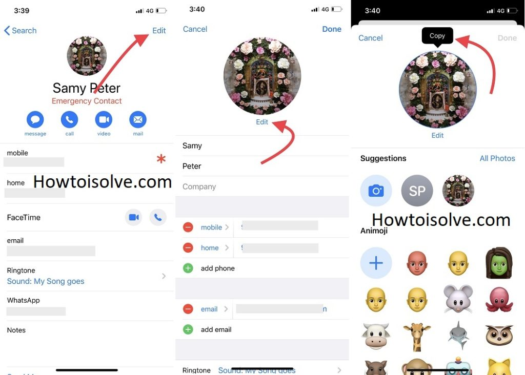 tap edit and tap on edit for profile picture and tap and hold to copy contact picture