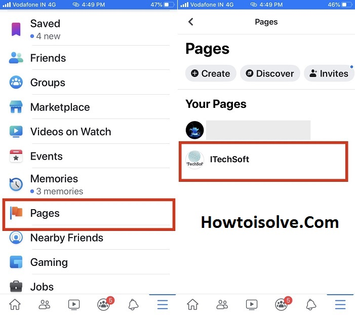 tap pages and choose a page and tap Edit page for facebook