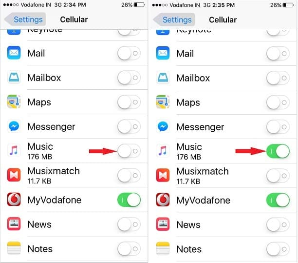 turn Cellular data ON for Music app on iPhone