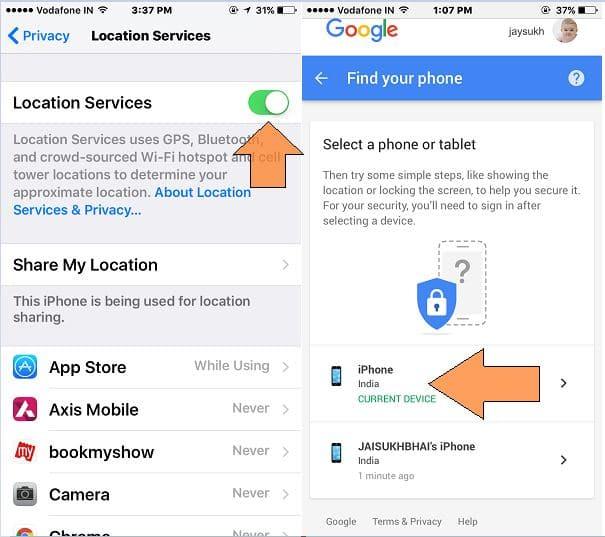 Register device on google map for find