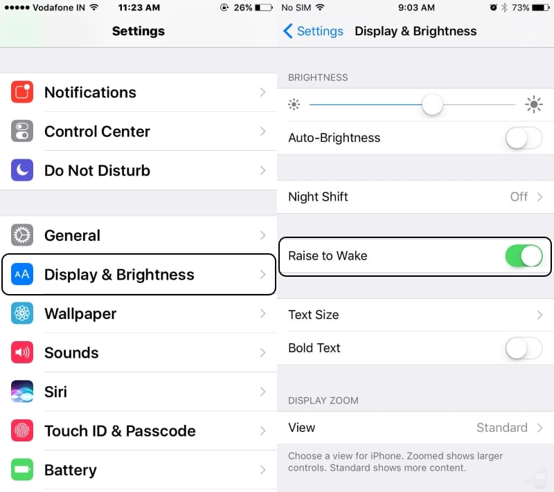 Manange Raise to wake features on iOS 10 with iPhone 7 or iPhone 7 Plus screen