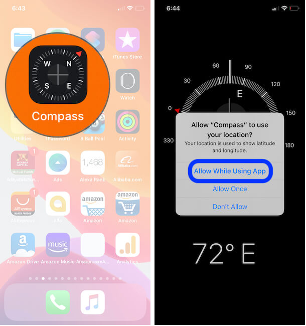 Get Geo GPS Coordinates or Elevation from Compass app on iPhone