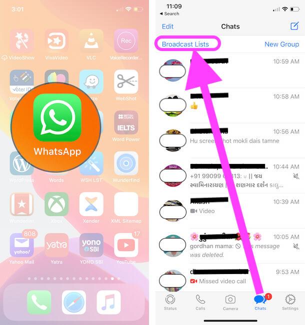Go to WhatsApp Broadcast list on iPhone