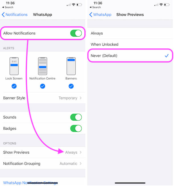Hide WhatsApp Message Preview in Notification on iPhone