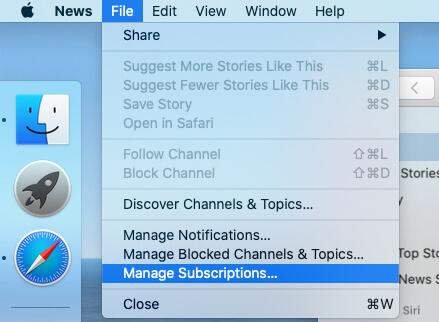 Manage News App Subscription on Mac