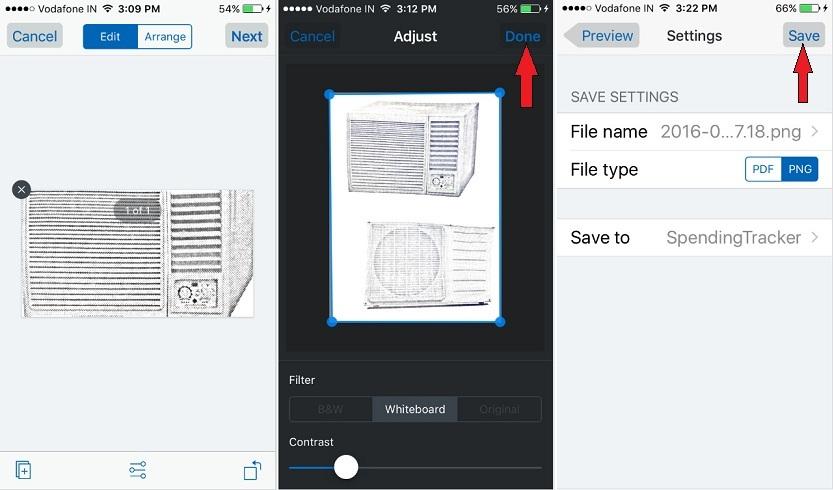 Edit scan document on iPhone dropbox