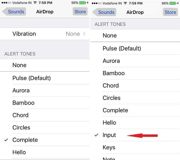 Sounds settings Screen of iPhone 5S