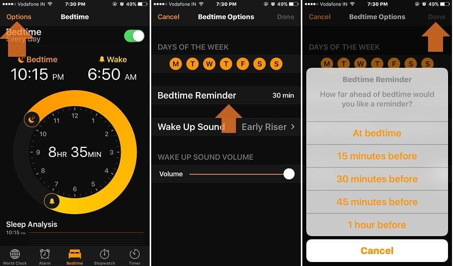 Change Bedtime reminder in iOS 10 iPhone, iPad clock app