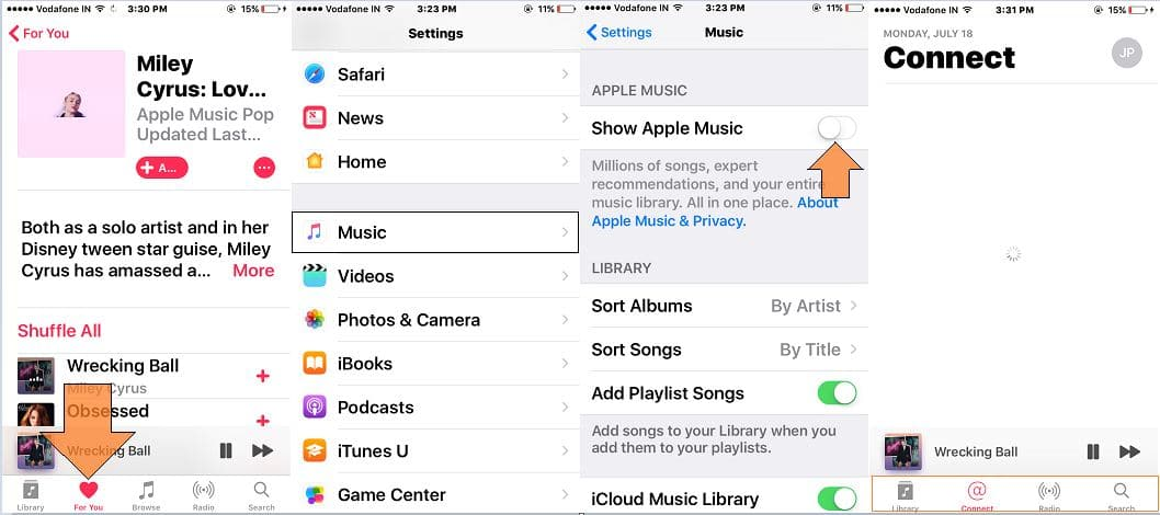 Disable to show apple music in music app