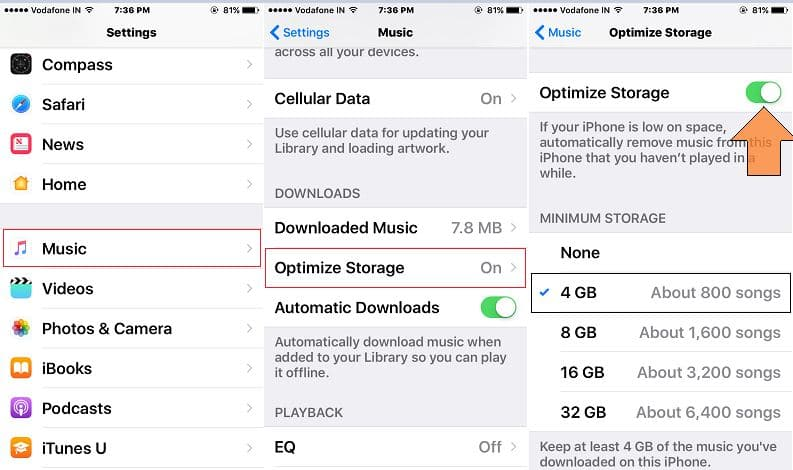 Auto option for Apple Music Optimize in iPhone, iPad with iOS 10
