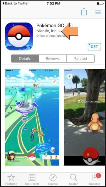 Verify Pokemon Go in app store