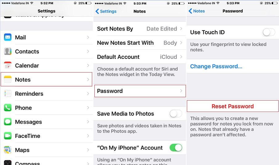 Reset Note password in setting