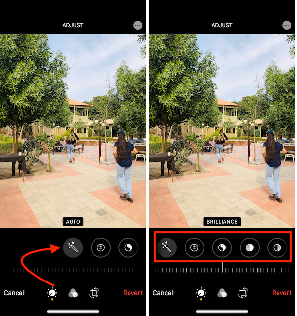 Adjust Photo in iPhone iPad Photos app